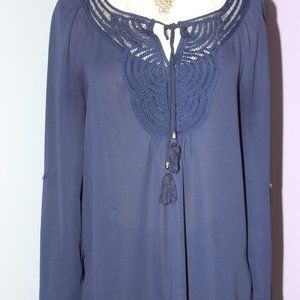 Daniel Rainn Blue Crochet Tunic Petite Small